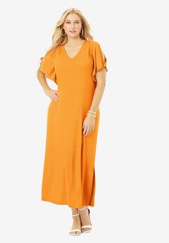 Cold Shoulder Maxi Dress, BRIGHT MELON