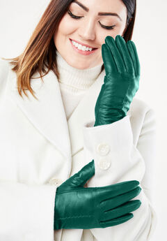 Leather Gloves, DARK EMERALD