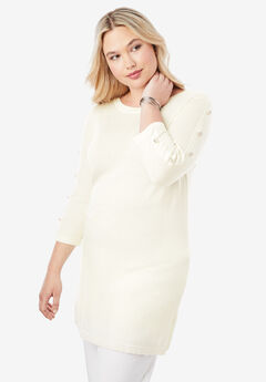 Cashmere Boatneck Sweater, IVORY