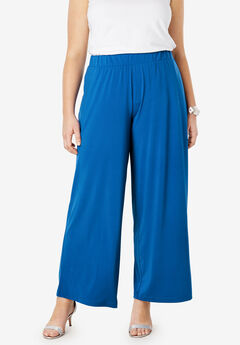 Travel Knit Wide Leg Pants, COBALT BLUE
