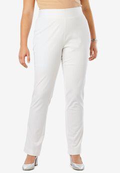 Tummy Control Twill Straight-Leg Pant, WHITE