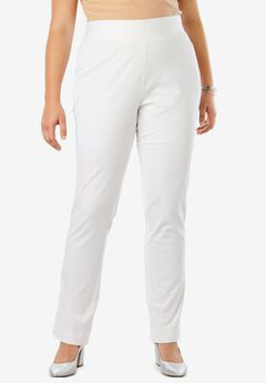 Tummy Control Twill Straight-Leg Pant, WHITE