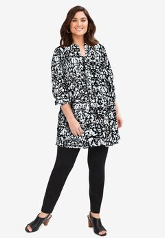 Georgette Button Front Tunic, BLACK ABSTRACT PRINT