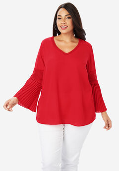 Pleated Bell Sleeve Tunic, HOT RED