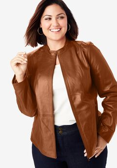 Zip Front Leather Jacket, COGNAC