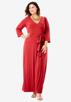 Faux Wrap Maxi Dress, PEPPER RED