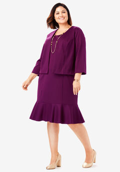 Ponte Jacket Dress, DARK BERRY