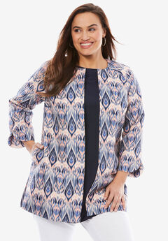 Three-Quarter Sleeve Collarless Topper,