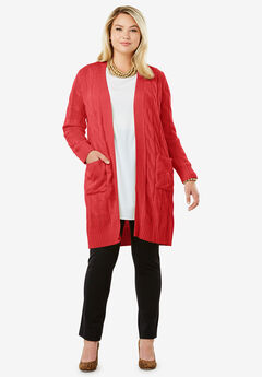 Cable Duster Sweater, PEPPER RED