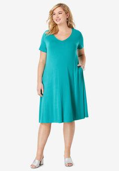 Crossback Trapeze Dress, JADE