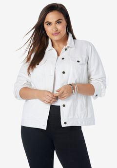 Classic Cotton Denim Jacket, WHITE