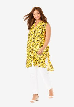 Sleeveless Mega Tunic, YELLOW PACKED HIBISCUS