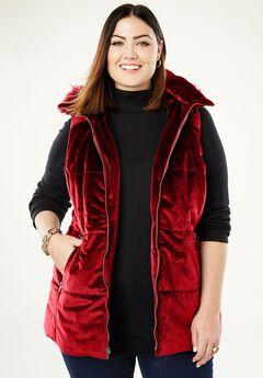 Velvet Puffer Vest, BRIGHT RUBY