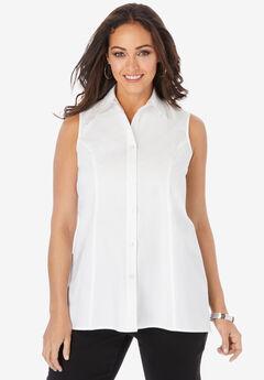 Poplin Button-Front Blouse, WHITE
