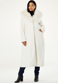 Long Wool-Blend Coat with Faux Fur Collar, IVORY
