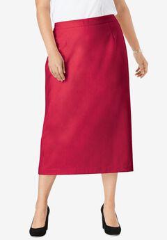 Wool-Blend Midi Skirt, CLASSIC RED
