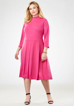 Travel Knit Fit & Flare Dress, BERRY