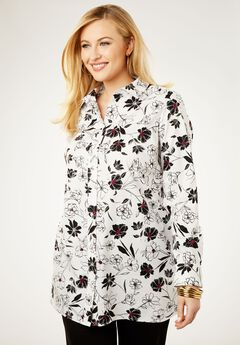 Long Sleeve Collared Poplin Tunic, WHITE SKETCH FLORAL