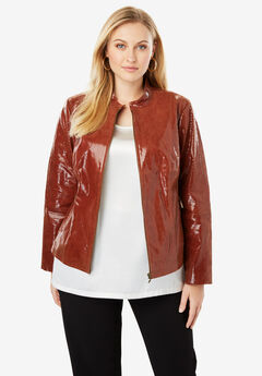 Zip Front Leather Jacket, RUST SNAKE