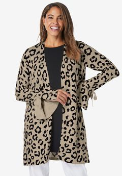 Bell Sleeve Cardigan Sweater, NEW KHAKI SIMPLE LEOPARD