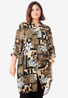 Mega Tunic, BLACK ANIMAL SCARF