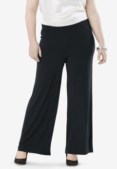 Travel Knit Wide Leg Pants, BLACK