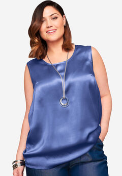 Sleeveless Satin Blouse, BLUE VIOLET