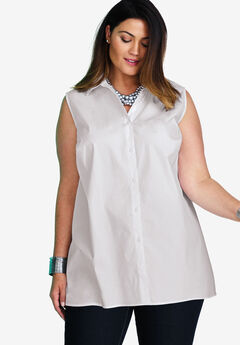 Sleeveless Poplin Blouse,