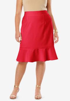 Flounced Bi-Stretch Skirt, HOT RED