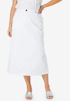 Classic Cotton Denim Long Skirt, WHITE