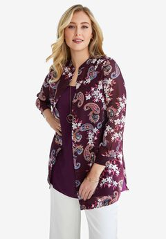 Georgette Button Front Tunic, BERRY FLORAL PAISLEY