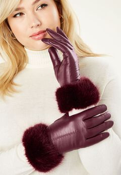 Faux Fur Leather Gloves,