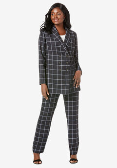 Double-Breasted Pantsuit, BLACK CLASSIC GRID
