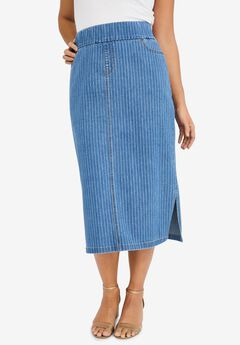 Comfort Waist Midi Skirt, MEDIUM STONEWASH STRIPE
