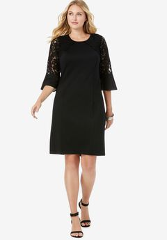 Lace Sleeve Ponte Shift Dress,