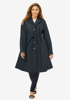 Pleated Trench Coat, BLACK