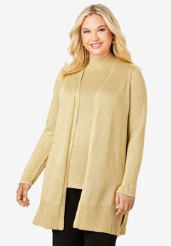 Shimmer Cardigan Sweater, GOLD