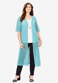 Scalloped Crochet Sweater Duster,