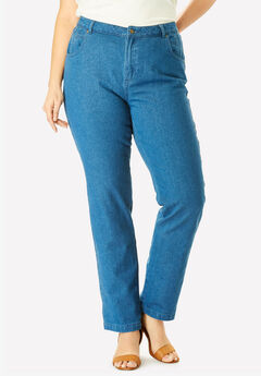 Classic Cotton Denim Straight Jeans, MEDIUM STONEWASH