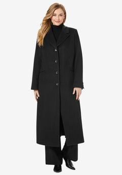 Full Length Wool Blend Coat, BLACK