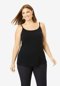 Cami Top with Adjustable Straps, BLACK