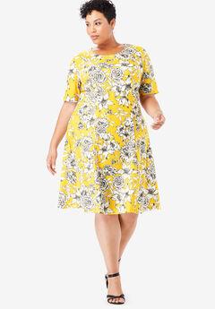 Ponté Knit Elbow Dress with Scoop Neckline, IVORY BOTANICAL FLORAL