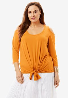 Cold Shoulder Tie-Front Tee, AMBER