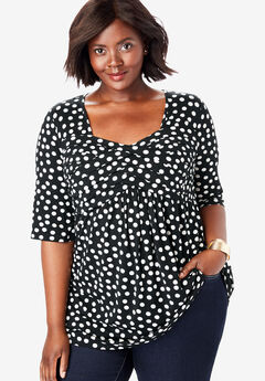 Pleated Tunic, BLACK DOT