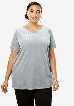 Velour A-Line Tunic, PEARL GREY