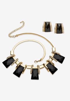Goldtone Checkerboard-Cut Black Crystal Necklace and Earring Set, 18 inch plus 2 inch extension,