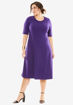 Ponte Flare Dress, MIDNIGHT VIOLET