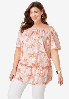 Off-The-Shoulder Blouson Tunic, CORAL BLUSH ABSTRACT WATERCOLOR