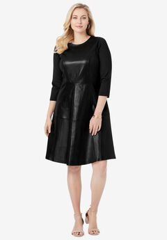 Leather and Ponte Knit Fit & Flare Dress, BLACK