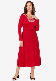 Embellished Sweater Dress, CLASSIC RED JEWEL FLORAL